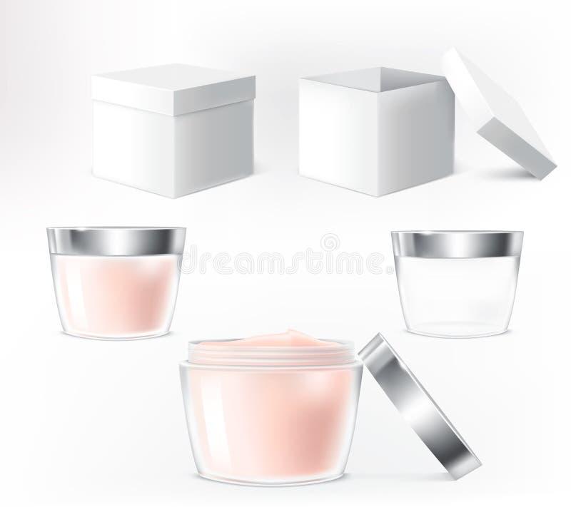 Комплект вектора иллюстраций для контейнеров косметик иллюстрация штока