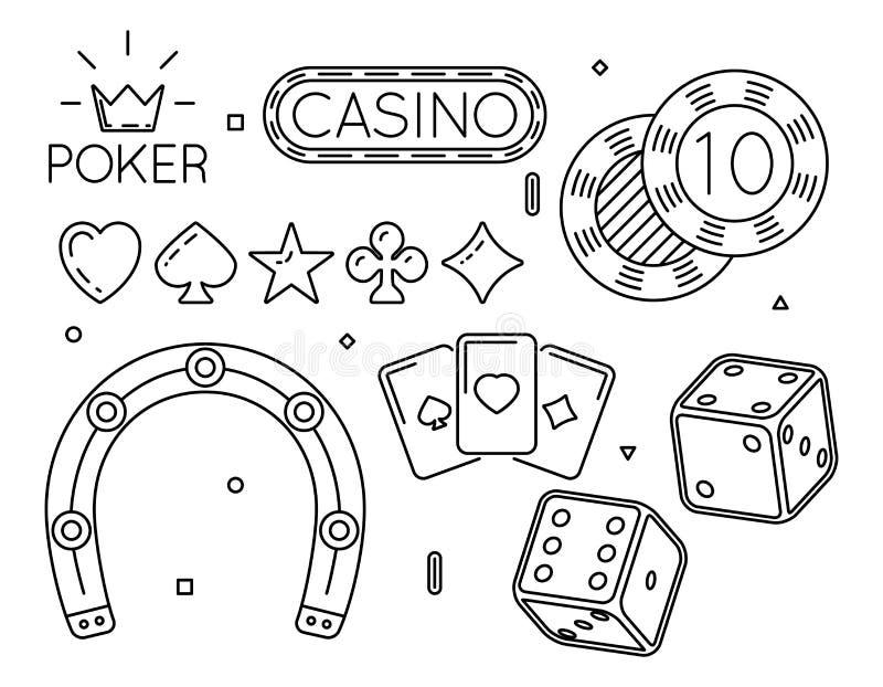 Комплект вектора казино и покер бьют линию значки иллюстрация вектора