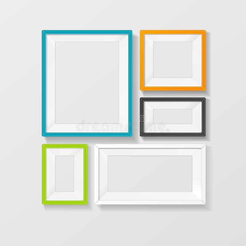 Комплект вектора картинной рамки цвета вектора иллюстрация вектора