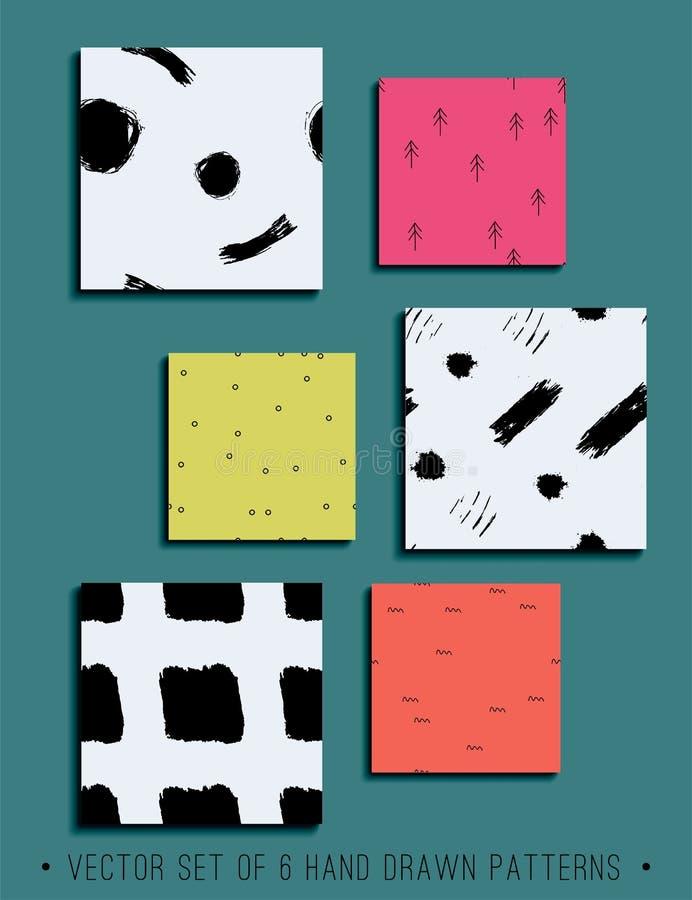Комплект вектора 6 картин нарисованных рукой современных безшовных иллюстрация вектора
