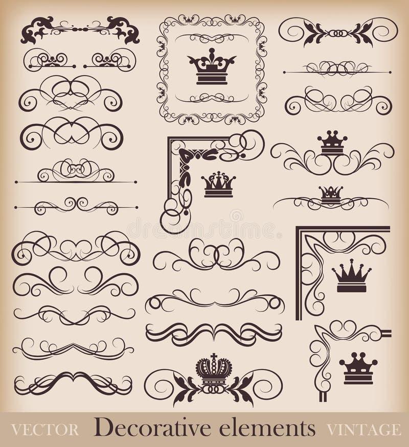 Комплект вектора. Каллиграфические элементы дизайна для вашего дизайна. иллюстрация вектора
