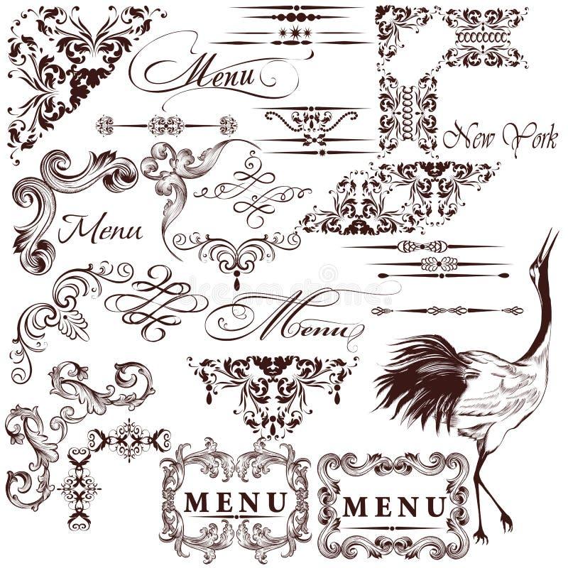 Комплект вектора каллиграфических винтажных элементов для дизайна иллюстрация штока