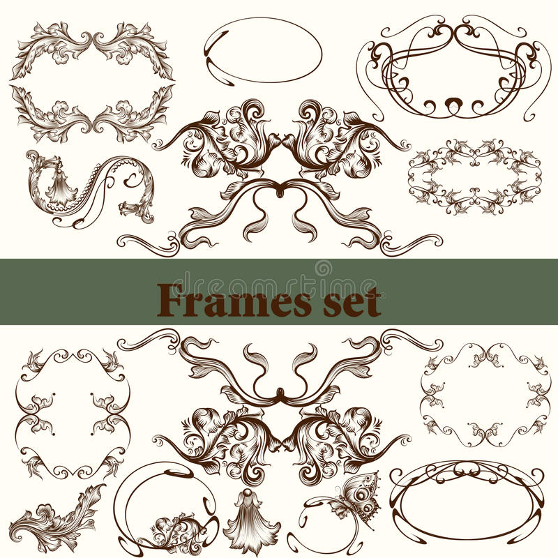 Комплект вектора каллиграфических элементов для дизайна каллиграфическо бесплатная иллюстрация
