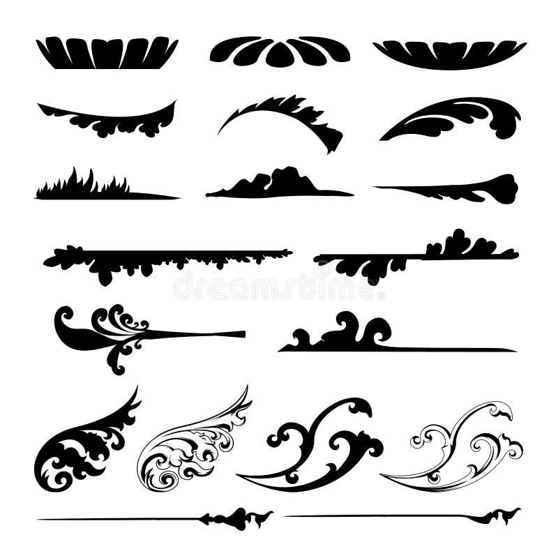 Комплект вектора каллиграфических элементов для дизайна Каллиграфический вектор бесплатная иллюстрация