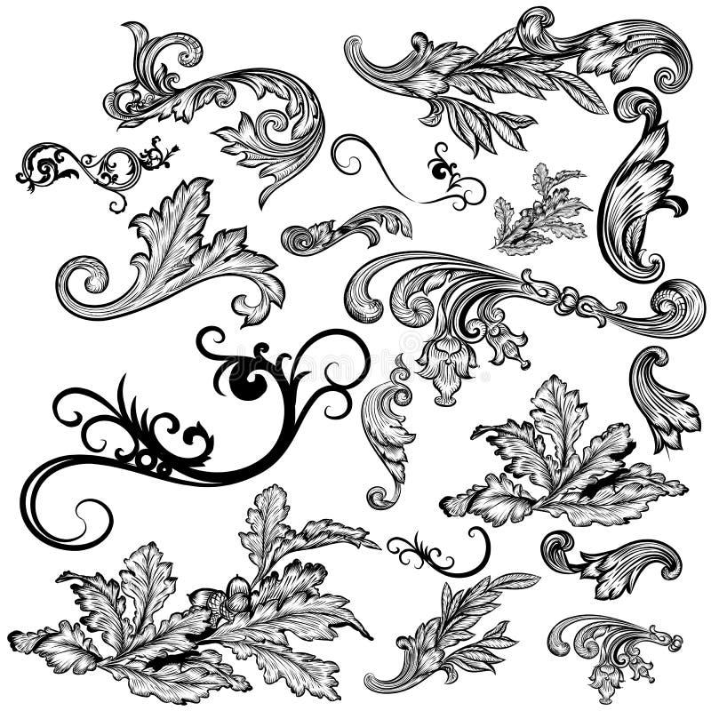 Комплект вектора каллиграфических элементов для дизайна каллиграфическо иллюстрация вектора