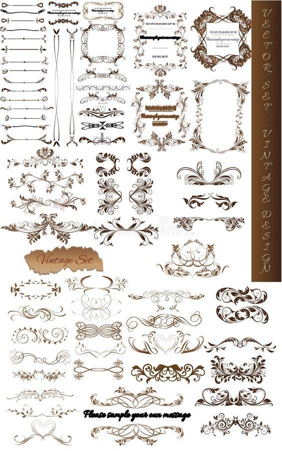 Комплект вектора каллиграфических элементов для дизайна иллюстрация вектора