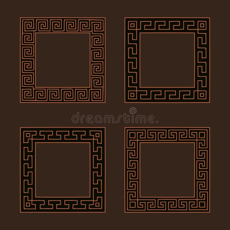 Комплект вектора 4 квадратных рамок меандра бесплатная иллюстрация