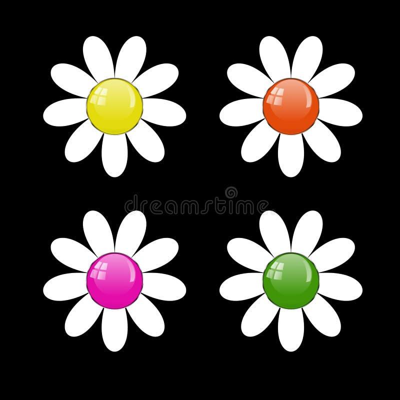 Комплект вектора кнопок в форме цветка иллюстрация штока