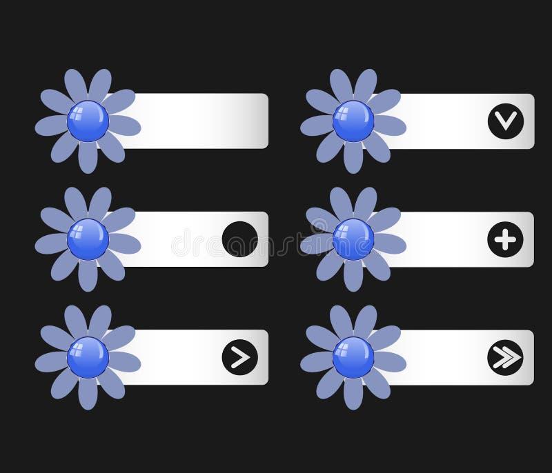 Комплект вектора кнопок с бумажными цветками на левом и правый иллюстрация вектора