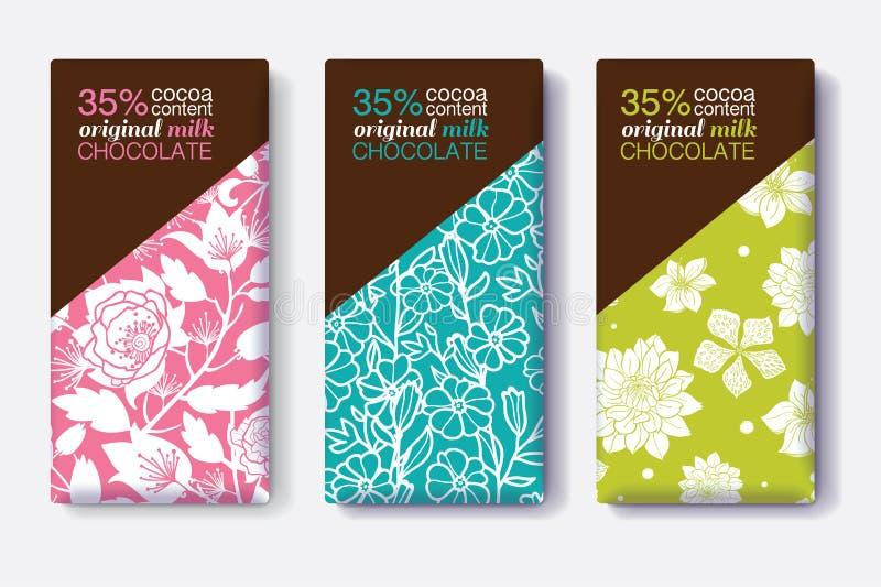 Комплект вектора комплексных конструирований шоколадного батончика с современными цветочными узорами Editable упаковывая собрание бесплатная иллюстрация