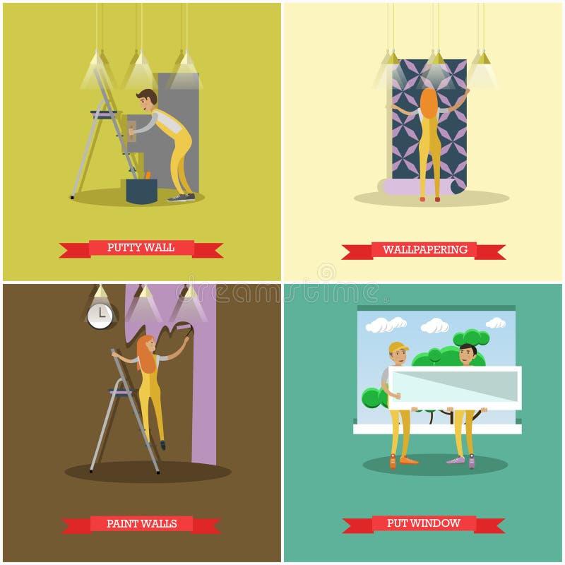 Комплект вектора конструкции и ремонтировать плакаты концепции дома иллюстрация вектора