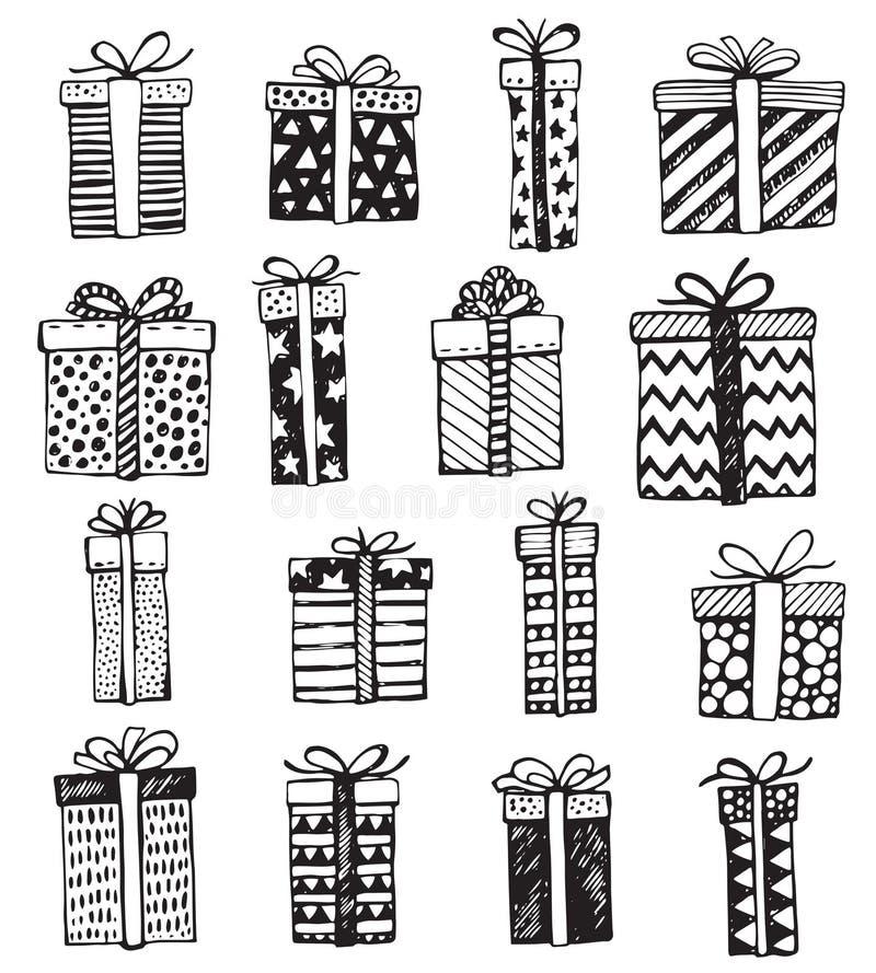 Комплект вектора коробок рождества или дня рождения богато украшенных присутствующих бесплатная иллюстрация