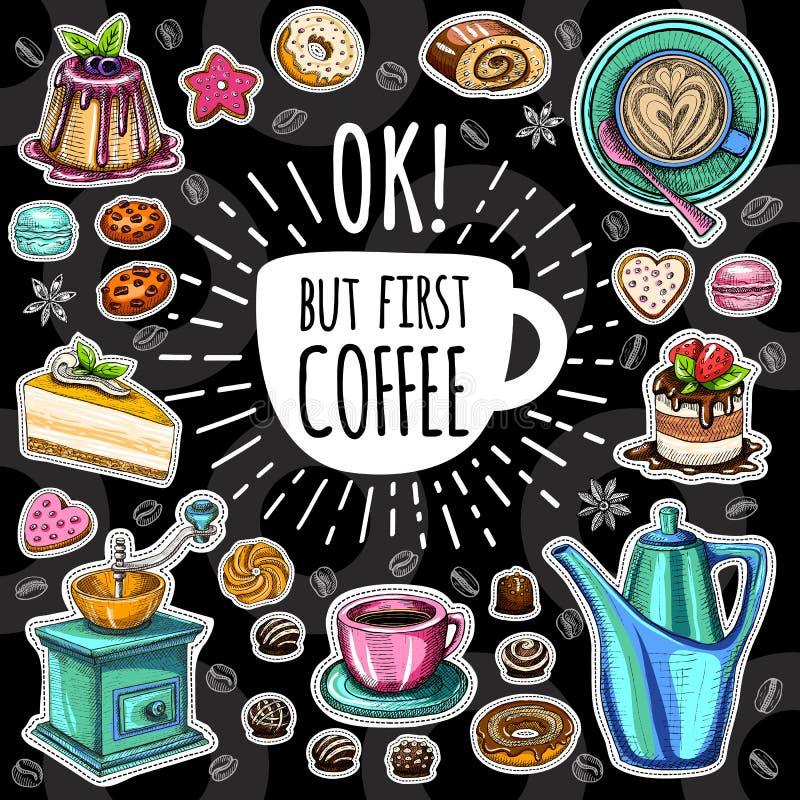 Комплект вектора кофе ультрамодный иллюстрация штока