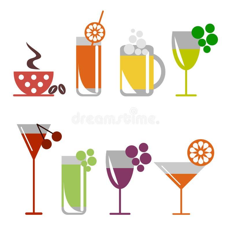 Комплект вектора красочной иллюстрации коктеилей с плодоовощами, кофе с зернами, пивом и бокалом иллюстрация вектора