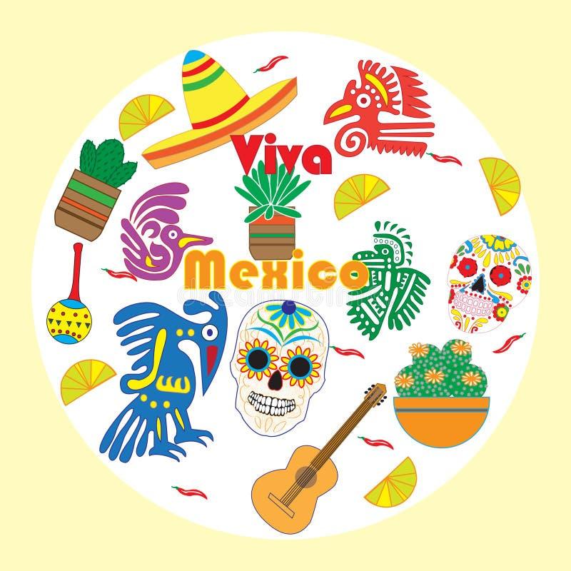 Комплект вектора красочных объектов, шаржей и значков Мексики иллюстрация штока