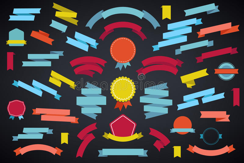 Комплект вектора красочных пустых ретро лент и значков, винтажного собрания на темной предпосылке бесплатная иллюстрация