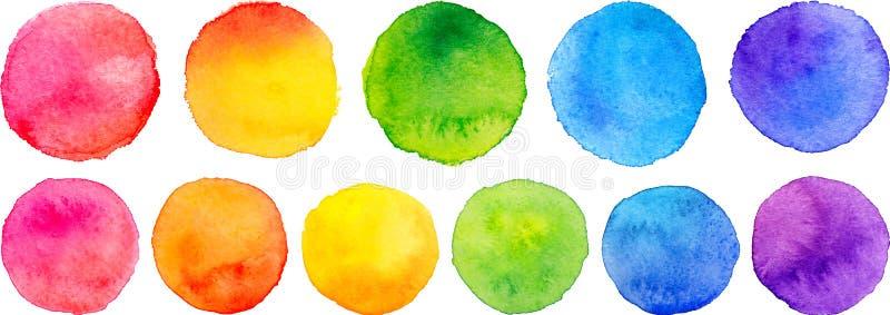 Комплект вектора кругов акварели радуги иллюстрация вектора