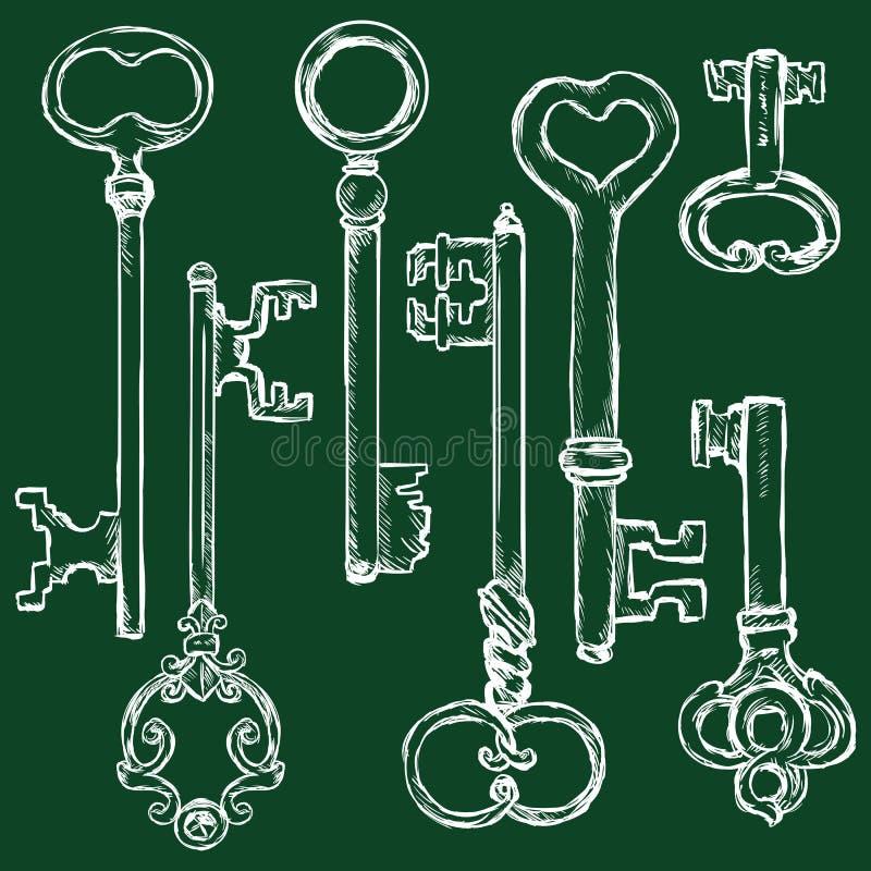 Комплект вектора ключей антиквариата мела иллюстрация штока