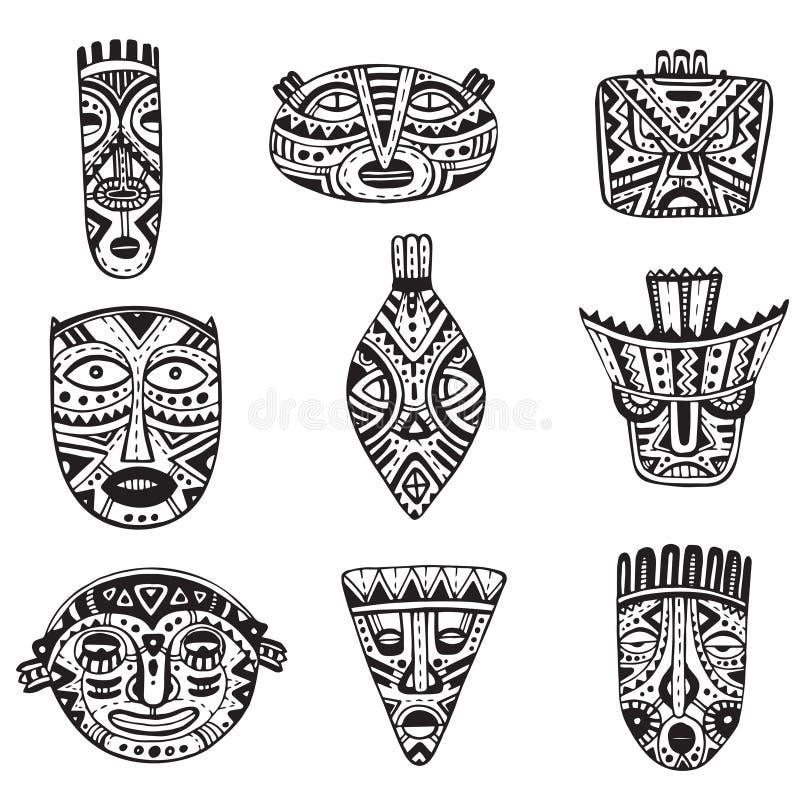 Комплект вектора маск нарисованных рукой причудливых в африканском стиле иллюстрация вектора