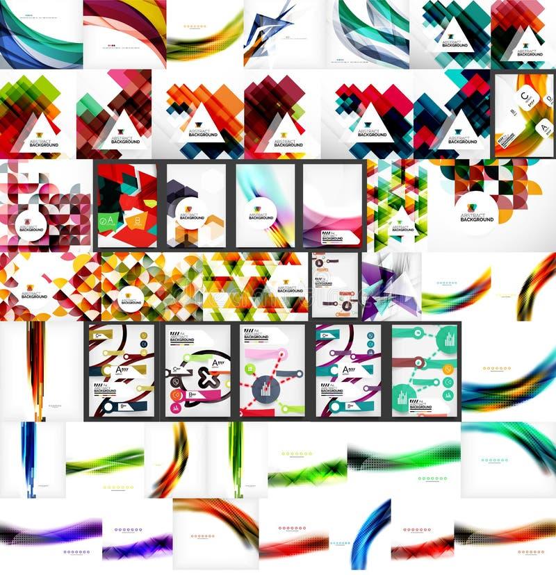 Комплект вектора мега абстрактных геометрических предпосылок иллюстрация вектора