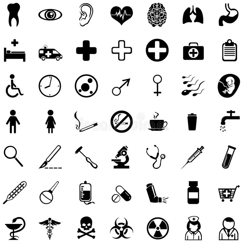 Комплект вектора 49 медицинских значков бесплатная иллюстрация