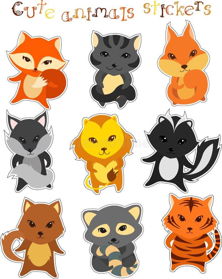 Комплект вектора милых смешных животных шаржа иллюстрация штока