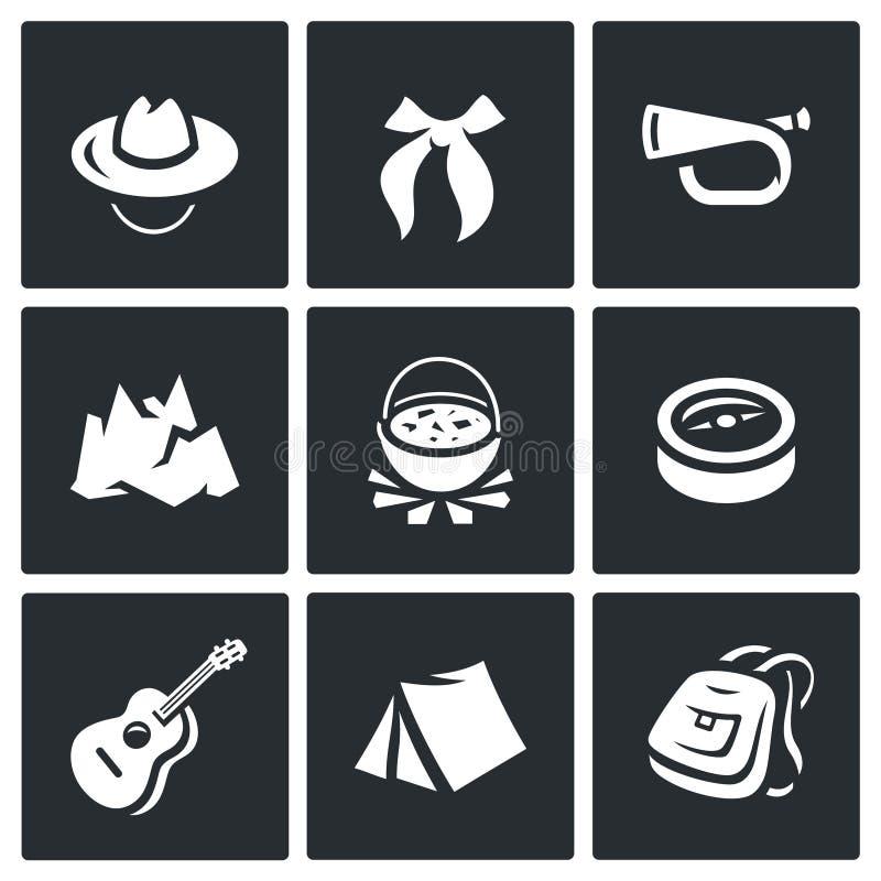 Комплект вектора наблюдать значки Шляпа, связь, свисток, гора, боилер, компас, гитара, шатер, рюкзак иллюстрация вектора