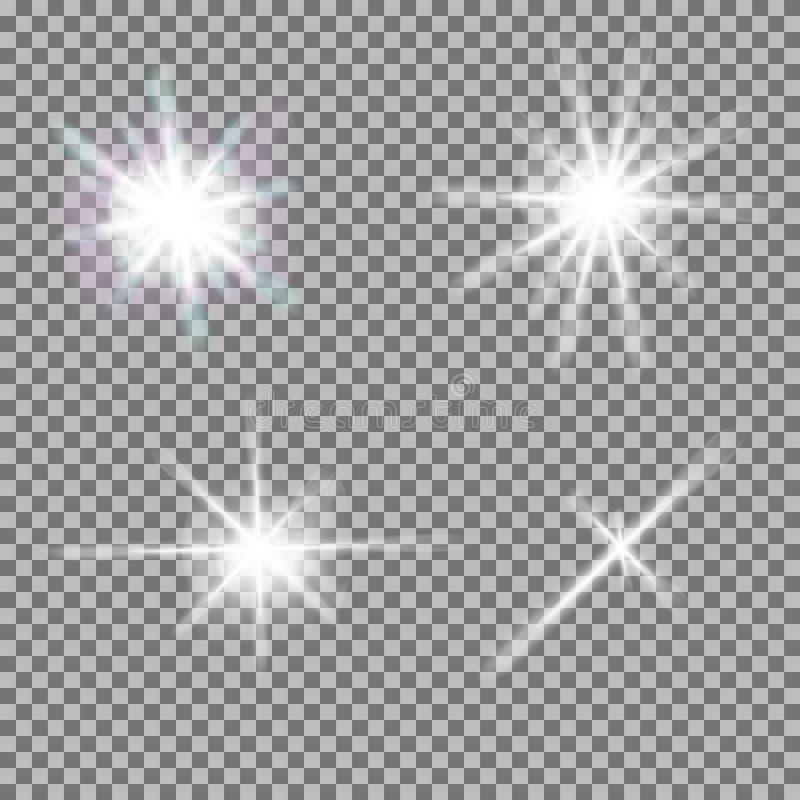 Комплект вектора накаляя света разрывает с sparkles иллюстрация штока