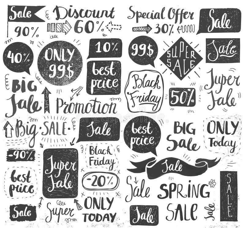 Комплект вектора нарисованной рукой литерности продажи doodle, оформления, рамок, пузырей иллюстрация вектора