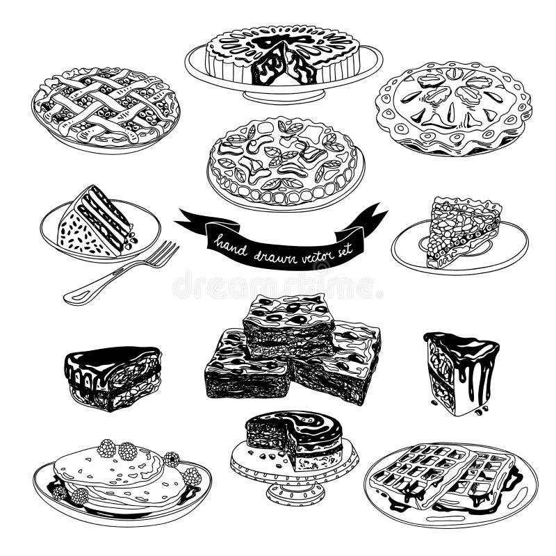 Комплект вектора нарисованный рукой с тортами и помадками иллюстрация штока