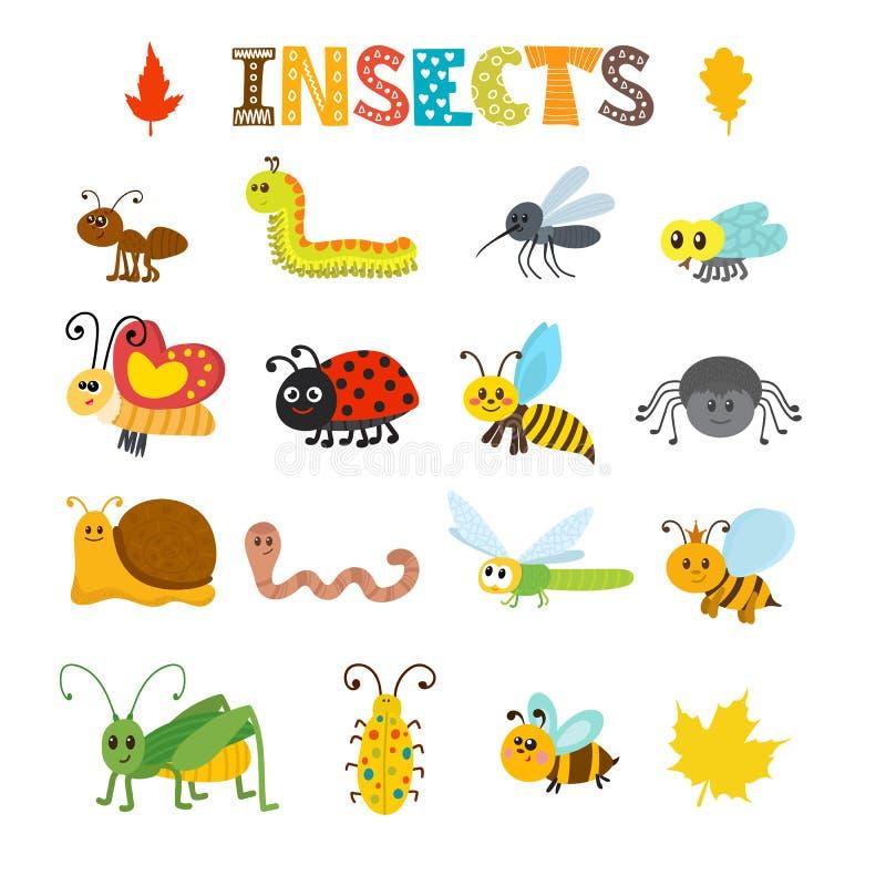 Комплект вектора насекомых шаржа иллюстрация вектора