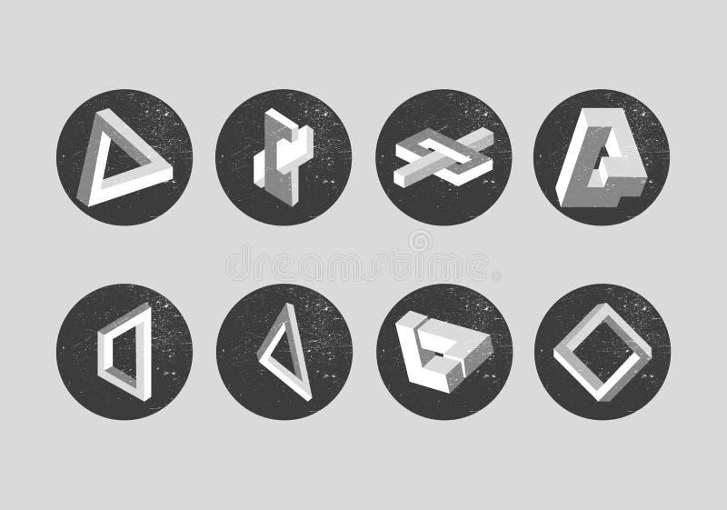 Комплект вектора невозможных объектов геометрические формы иллюстрация вектора