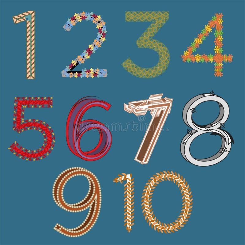 Комплект вектора номеров нарисованных рукой художнических от одного до 10 изолированных на голубом backgroun бесплатная иллюстрация
