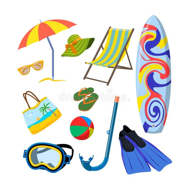 Комплект вектора объектов лета изолированных на белой предпосылке концепция каникул пляжа иллюстрация вектора