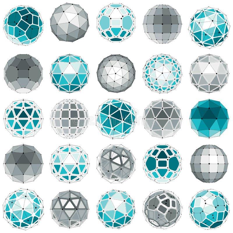 Комплект вектора объектов низко поли сферически с соединенными линиями иллюстрация вектора