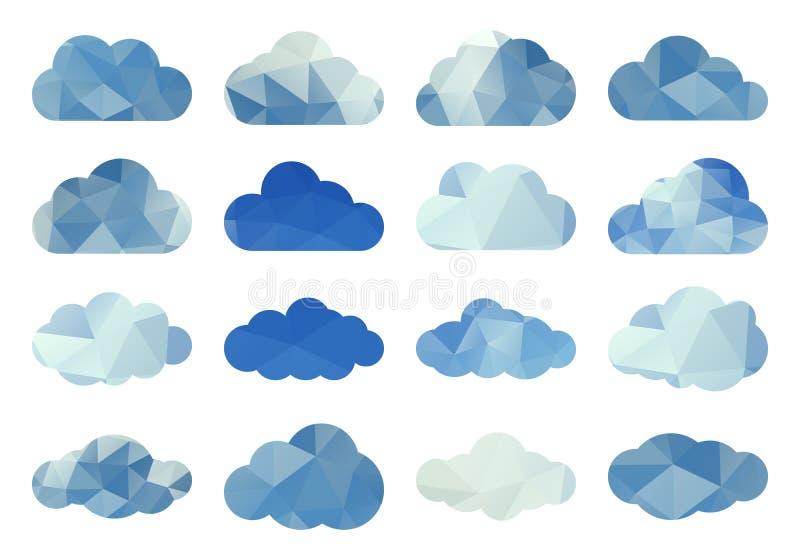 Комплект вектора облаков полигона иллюстрация штока
