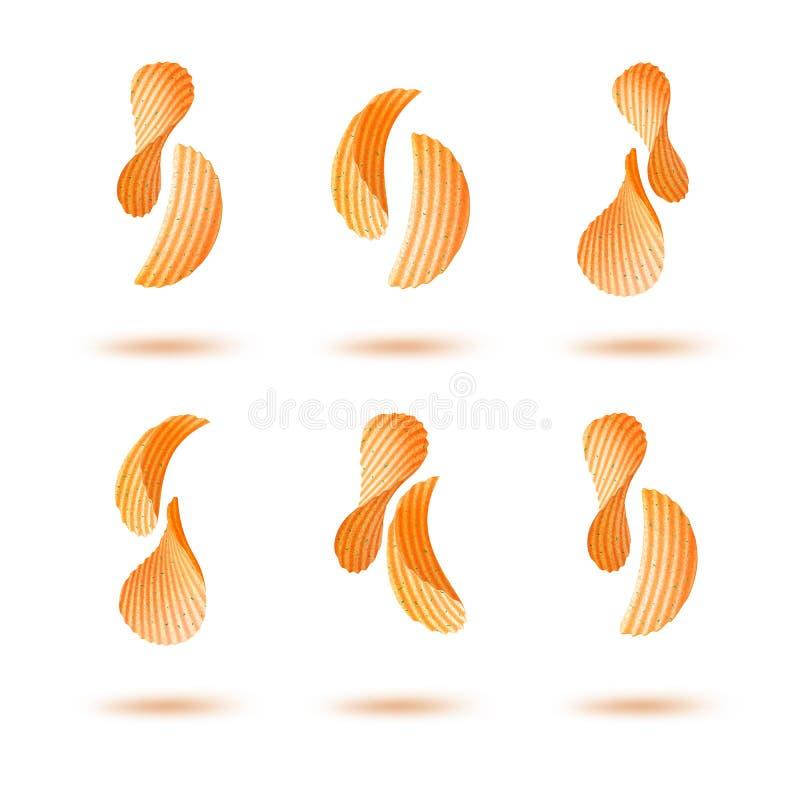 Комплект вектора обломоков пульсации картошки кудрявых изолированных на белой предпосылке бесплатная иллюстрация