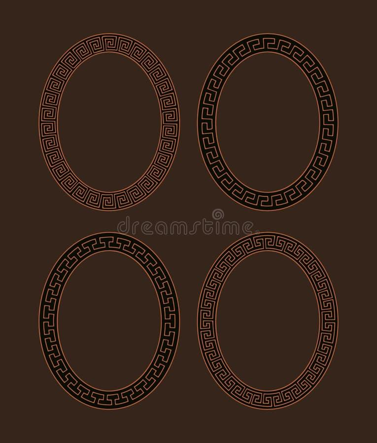 Комплект вектора 4 овальных рамок меандра бесплатная иллюстрация