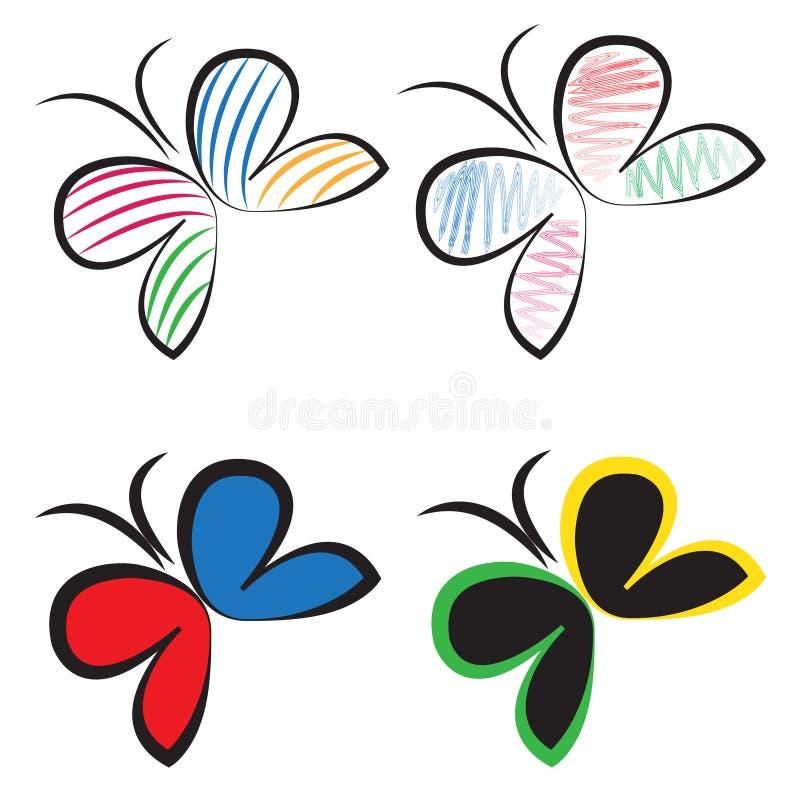 Комплект вектора логотипа бабочки бесплатная иллюстрация