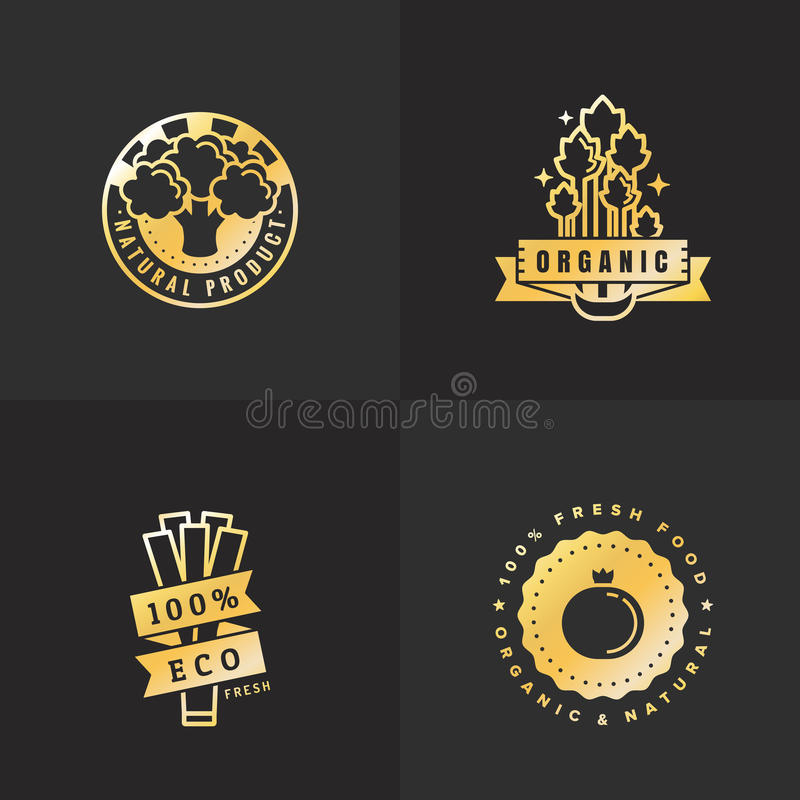 Комплект вектора логотипа золота натуральных продуктов винтажный Часть 6 иллюстрация вектора