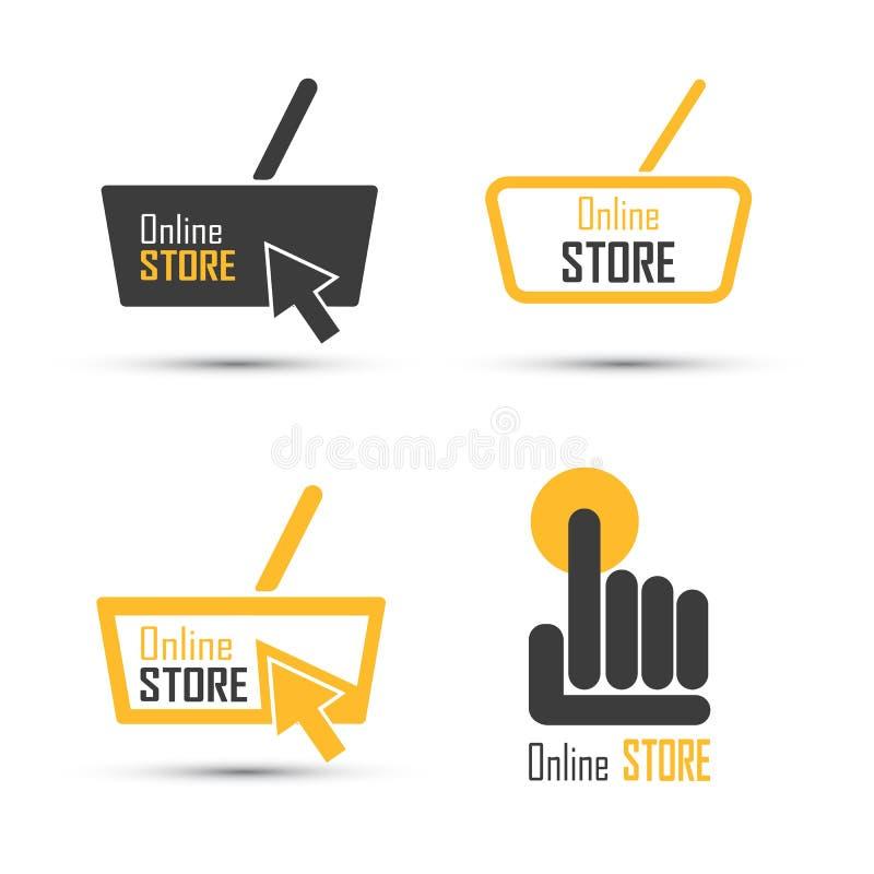 Комплект вектора логотипа покупок Онлайн концепция магазина бесплатная иллюстрация