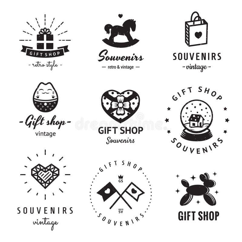 Комплект вектора логотипа сувенирного магазина и сувениров винтажный Битник и ретро стиль иллюстрация вектора