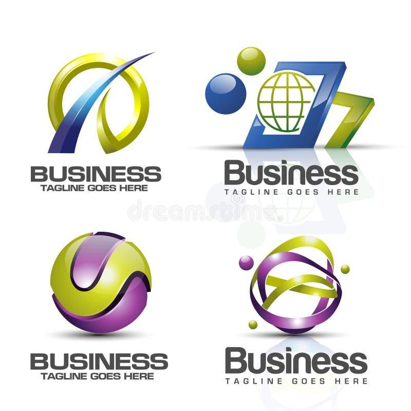 комплект вектора логотипа 3D иллюстрация вектора