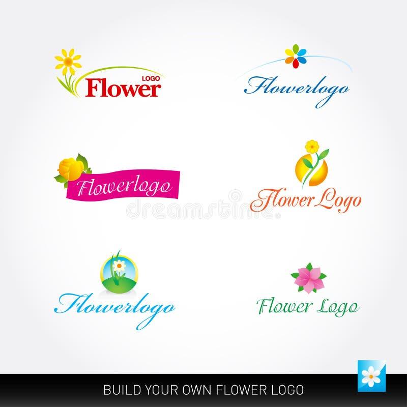 Комплект вектора логотипов вектора цветка Цветет шаблоны логотипа Флористические логотипы иллюстрация штока