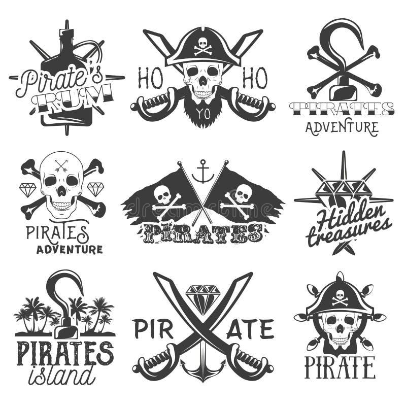 Комплект вектора логотипов, эмблем, значков, ярлыков или знамен пиратов Изолированные винтажные иллюстрации стиля Флаги Monochrom иллюстрация вектора