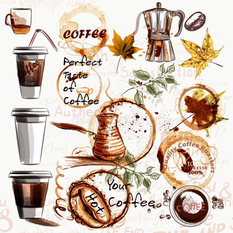Комплект вектора от покрашенного пластичного стекла с кофе и кофе иллюстрация штока