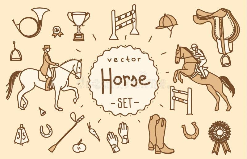 Комплект вектора лошади стоковое изображение rf
