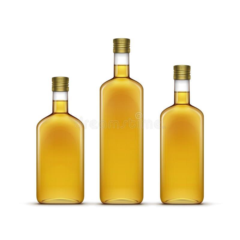 Комплект вектора пить вискиа алкогольных напитков спирта или бутылок оливкового масла солнцецвета стеклянных изолированных на бел иллюстрация штока