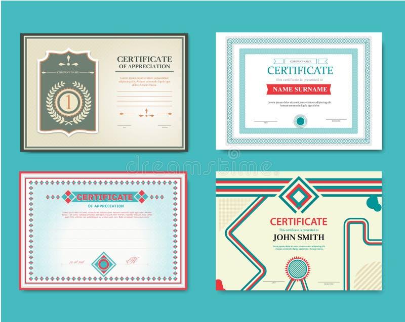 Комплект вектора подарочных купонов Большой для сертификатов, дипломов, и наград Сертификат, диплом завершения иллюстрация вектора