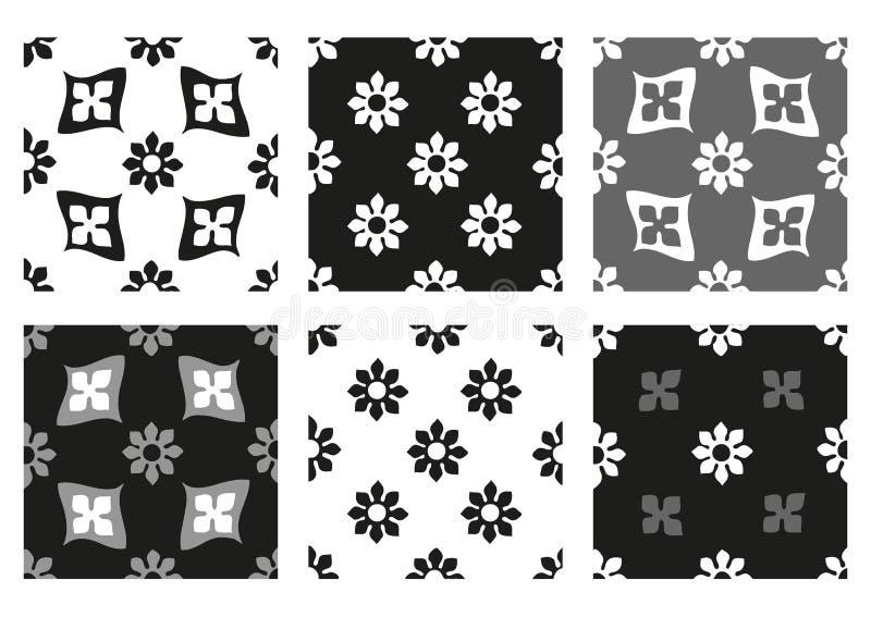 Комплект вектора предпосылок безшовных цветочных узоров черно-белых винтажных иллюстрация вектора